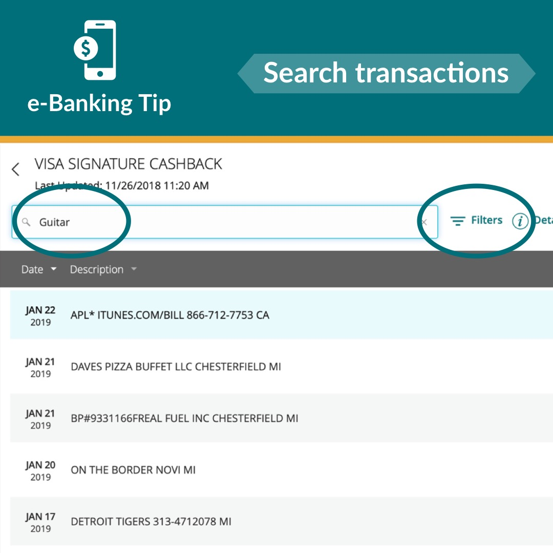 How to search transactions in e-Banking