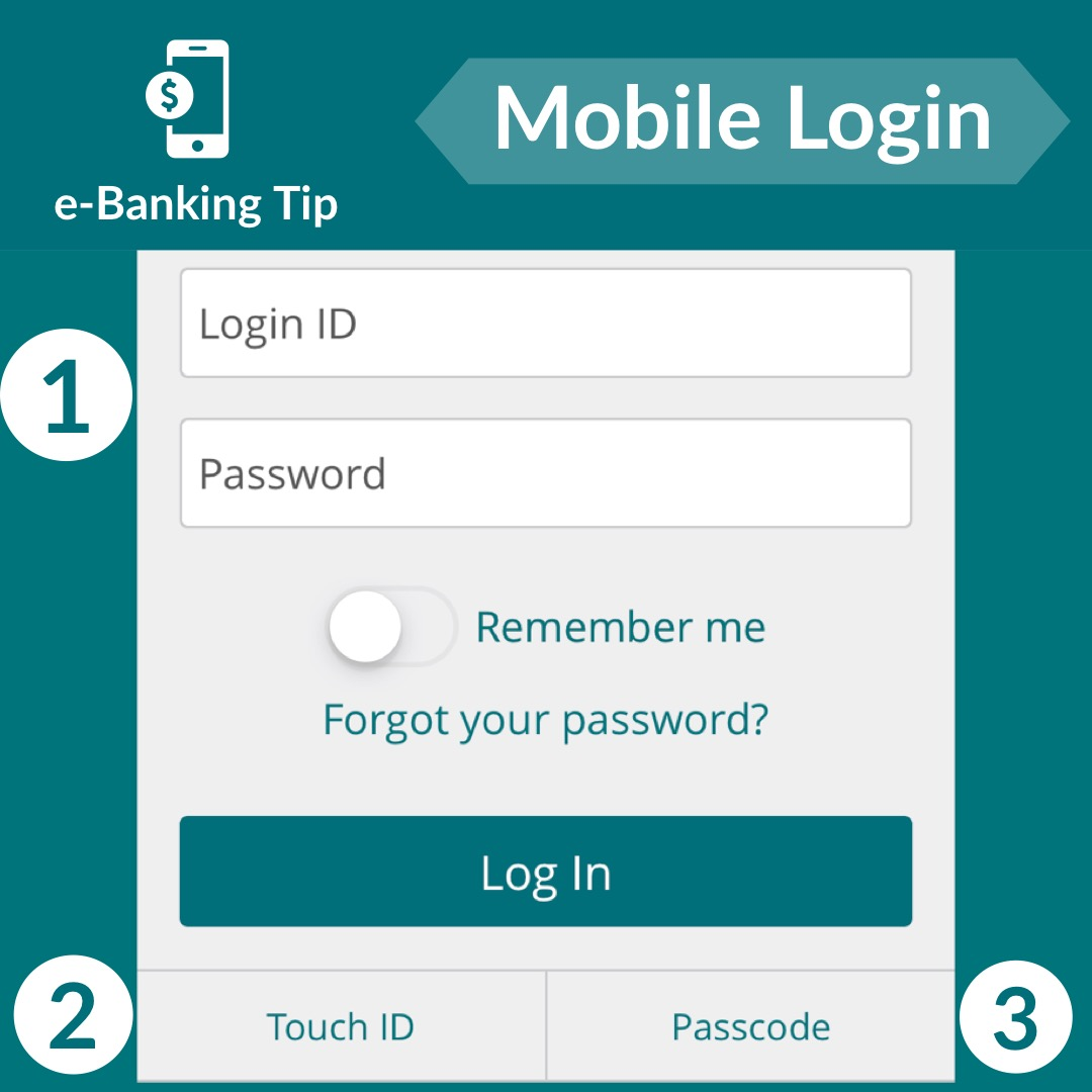 Three ways to login to e-Banking on your mobile device