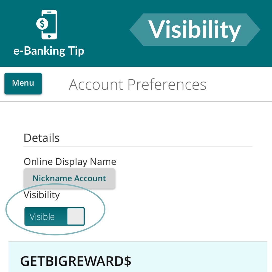 Toggle account visibility in e-Banking