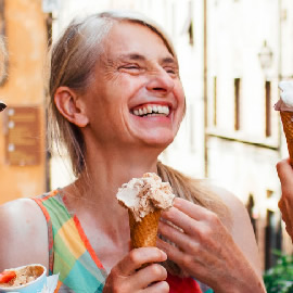 square version of retired women eating ice cream and just laughing